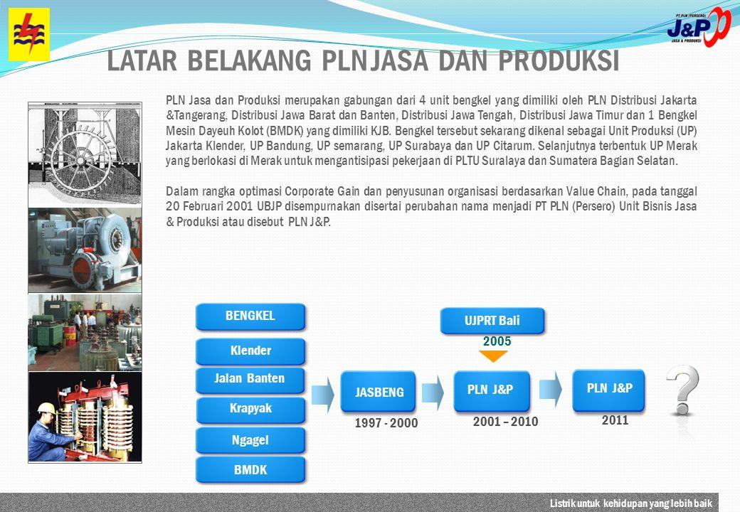 Listrik untuk kehidupan yang lebih baik PLN Jasa dan Produksi merupakan gabungan dari 4 unit bengkel yang dimiliki oleh PLN Distribusi Jakarta &Tanger