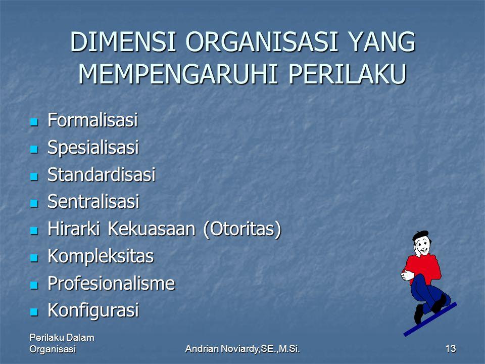 Perilaku Dalam OrganisasiAndrian Noviardy,SE.,M.Si.12 Beberapa Jenis Aturan Pengendalian fisik.