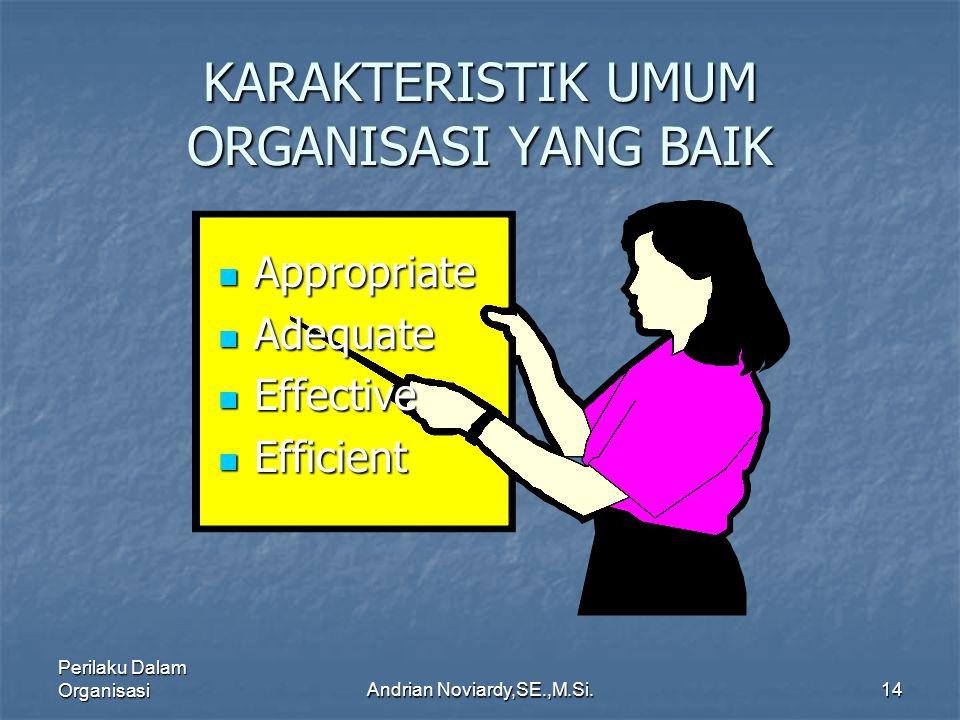 Perilaku Dalam OrganisasiAndrian Noviardy,SE.,M.Si.13 DIMENSI ORGANISASI YANG MEMPENGARUHI PERILAKU Formalisasi Formalisasi Spesialisasi Spesialisasi Standardisasi Standardisasi Sentralisasi Sentralisasi Hirarki Kekuasaan (Otoritas) Hirarki Kekuasaan (Otoritas) Kompleksitas Kompleksitas Profesionalisme Profesionalisme Konfigurasi Konfigurasi