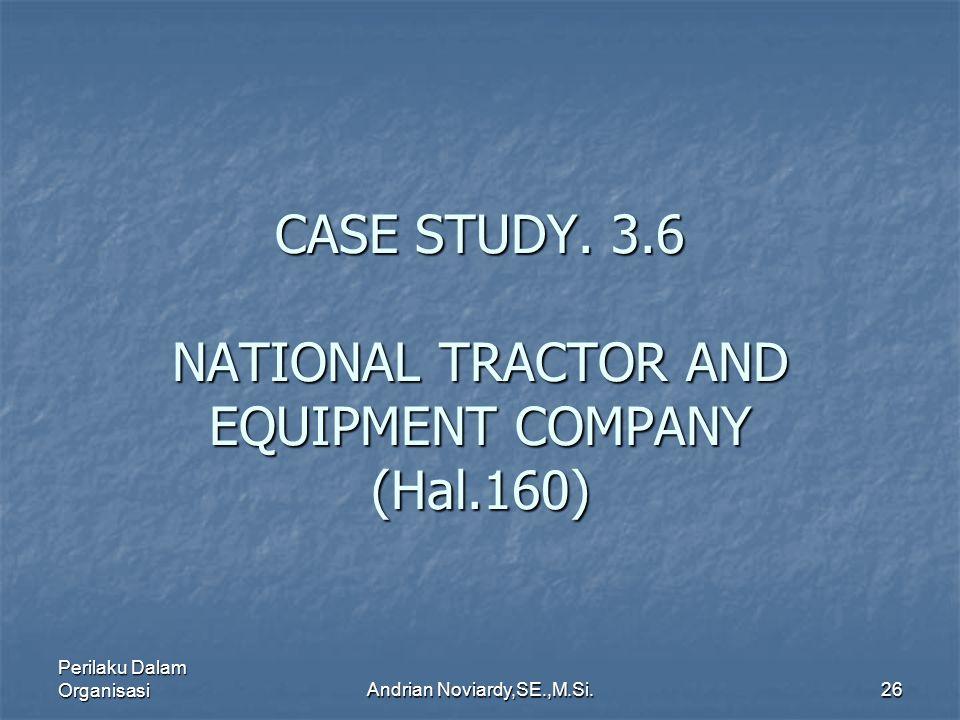 Perilaku Dalam OrganisasiAndrian Noviardy,SE.,M.Si.25 Case Study 3.2 NUCOR CORPORATION (B) HAL. 130