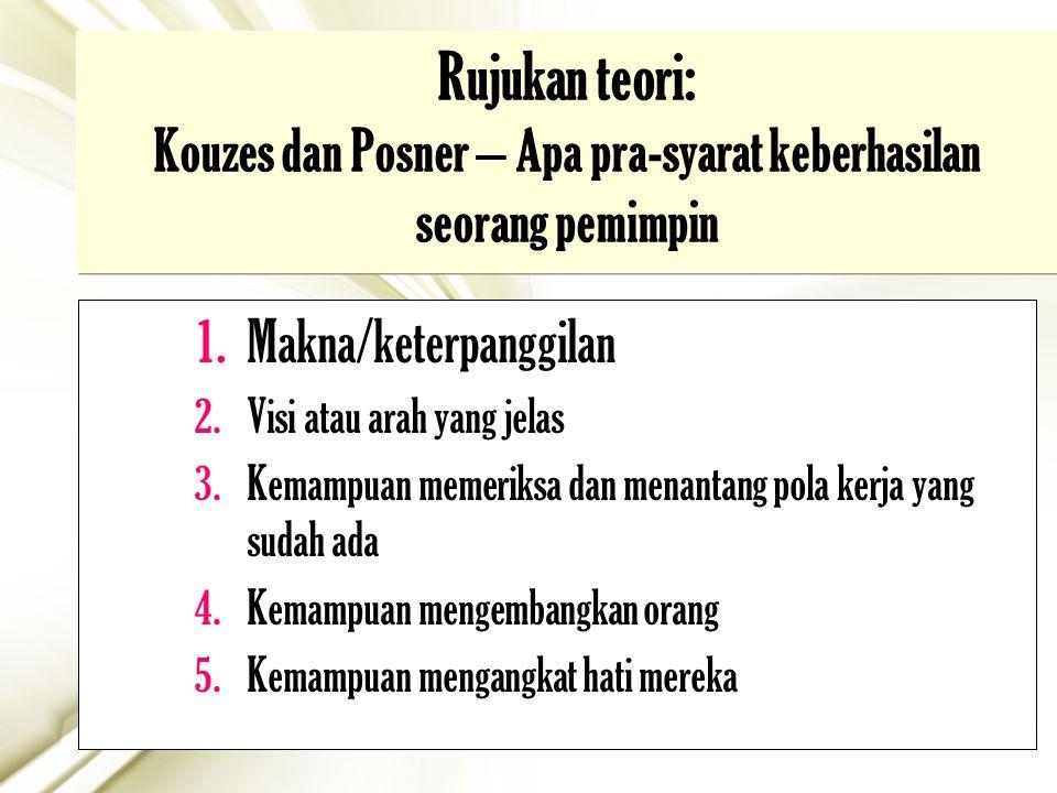 17 Rujukan teori: Kouzes dan Posner – Apa pra-syarat keberhasilan seorang pemimpin 1.Makna/keterpanggilan 2.Visi atau arah yang jelas 3.Kemampuan meme