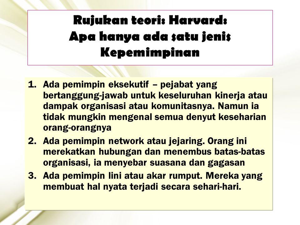 18 Rujukan teori: Harvard: Apa hanya ada satu jenis Kepemimpinan 1.Ada pemimpin eksekutif – pejabat yang bertanggung-jawab untuk keseluruhan kinerja a