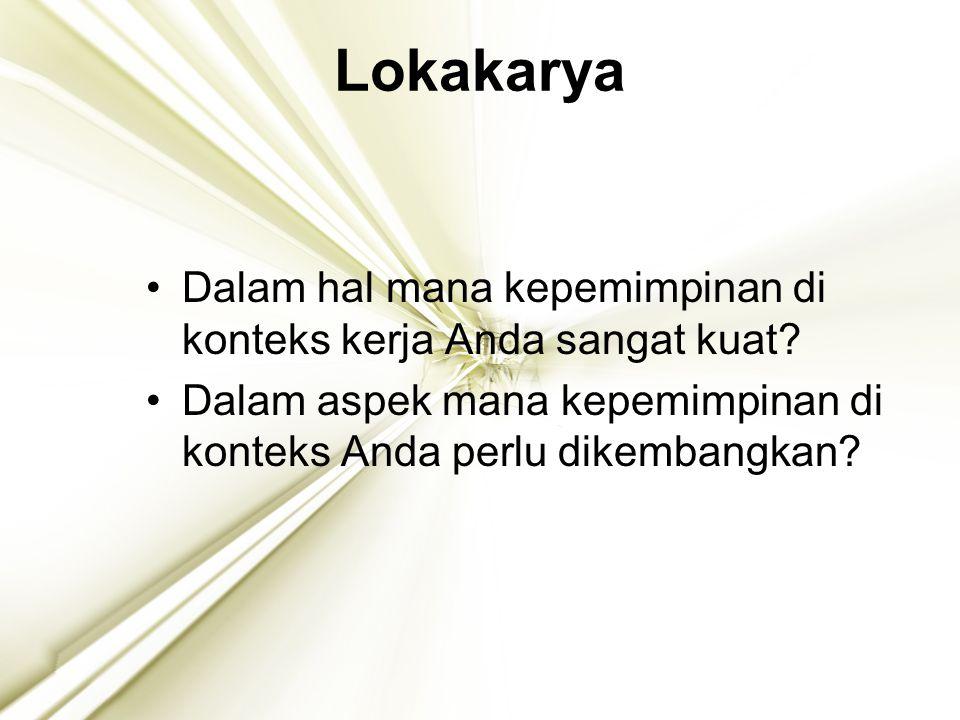 21 Lokakarya Dalam hal mana kepemimpinan di konteks kerja Anda sangat kuat? Dalam aspek mana kepemimpinan di konteks Anda perlu dikembangkan?