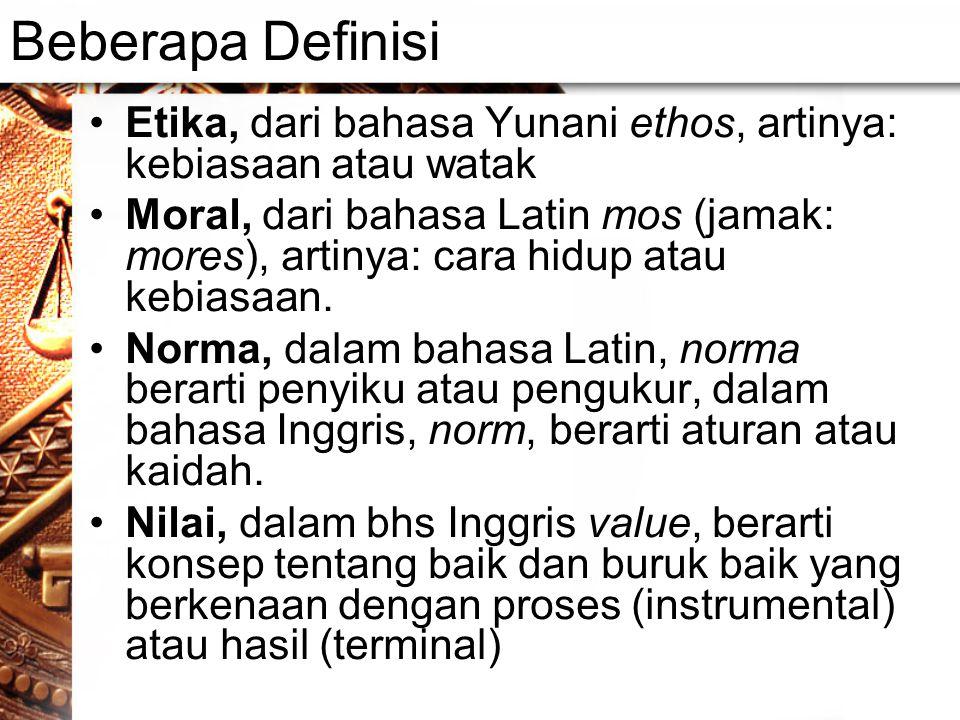 Beberapa Definisi Etika, dari bahasa Yunani ethos, artinya: kebiasaan atau watak Moral, dari bahasa Latin mos (jamak: mores), artinya: cara hidup atau kebiasaan.