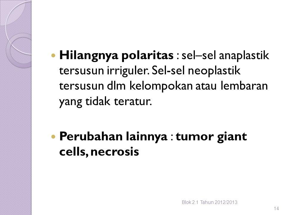 Hilangnya polaritas : sel–sel anaplastik tersusun irriguler. Sel-sel neoplastik tersusun dlm kelompokan atau lembaran yang tidak teratur. Perubahan la