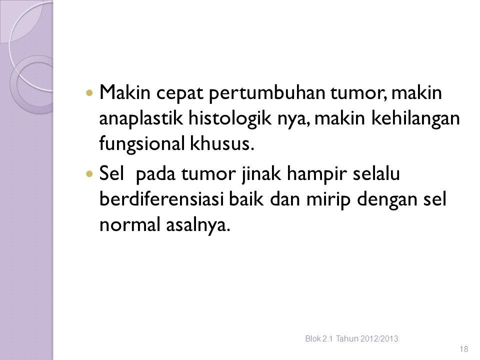 Makin cepat pertumbuhan tumor, makin anaplastik histologik nya, makin kehilangan fungsional khusus. Sel pada tumor jinak hampir selalu berdiferensiasi