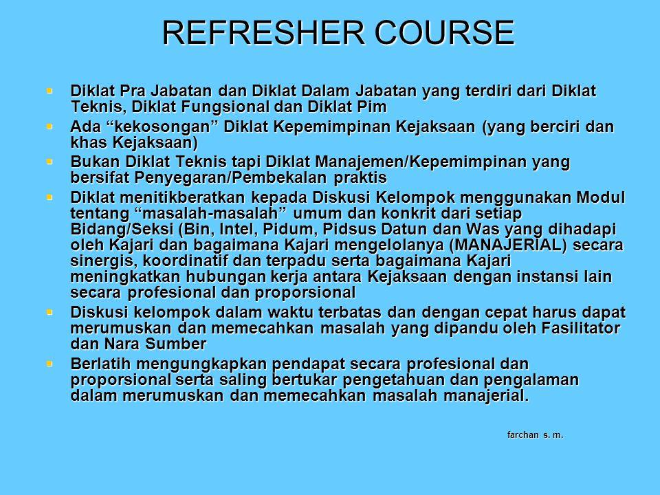 """REFRESHER COURSE  Diklat Pra Jabatan dan Diklat Dalam Jabatan yang terdiri dari Diklat Teknis, Diklat Fungsional dan Diklat Pim  Ada """"kekosongan"""" Di"""