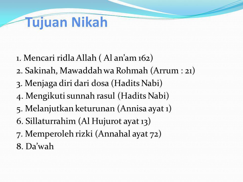 Tujuan Nikah 1. Mencari ridla Allah ( Al an'am 162) 2. Sakinah, Mawaddah wa Rohmah (Arrum : 21) 3. Menjaga diri dari dosa (Hadits Nabi) 4. Mengikuti s