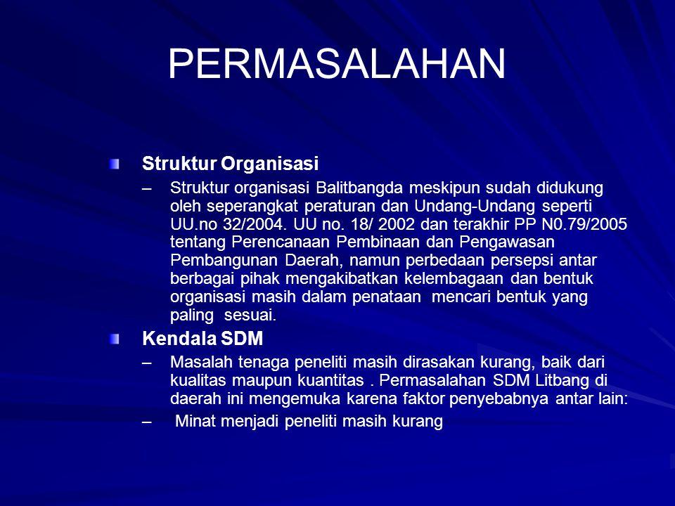 PERMASALAHAN Struktur Organisasi – –Struktur organisasi Balitbangda meskipun sudah didukung oleh seperangkat peraturan dan Undang-Undang seperti UU.no 32/2004.