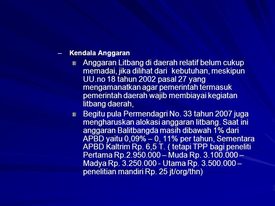 – –Kendala Anggaran Anggaran Litbang di daerah relatif belum cukup memadai, jika dilihat dari kebutuhan, meskipun UU.no 18 tahun 2002 pasal 27 yang me
