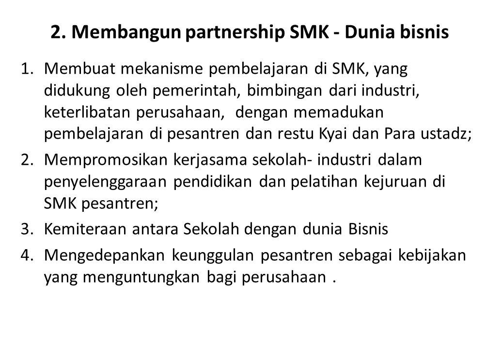 2. Membangun partnership SMK - Dunia bisnis 1.Membuat mekanisme pembelajaran di SMK, yang didukung oleh pemerintah, bimbingan dari industri, keterliba