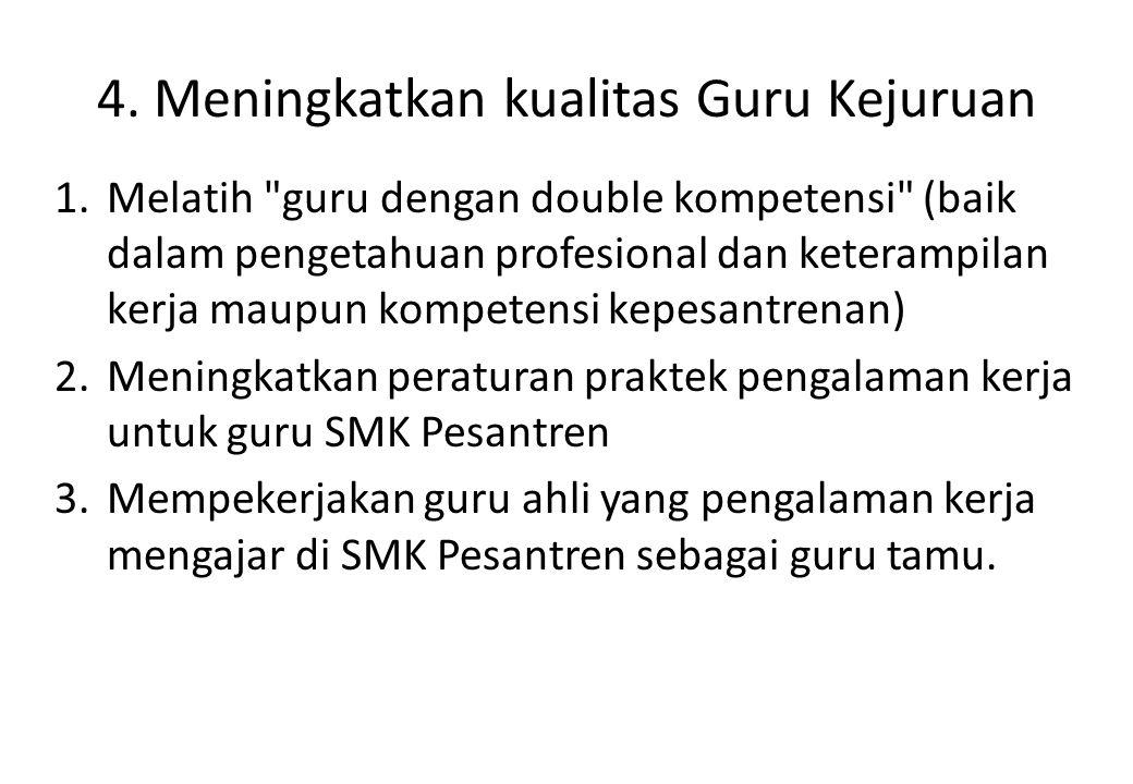 4. Meningkatkan kualitas Guru Kejuruan 1.Melatih