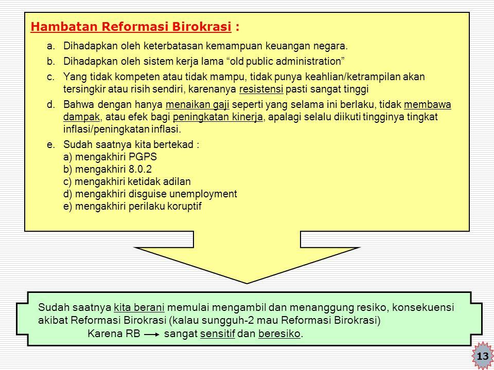 "Hambatan Reformasi Birokrasi : a. Dihadapkan oleh keterbatasan kemampuan keuangan negara. b. Dihadapkan oleh sistem kerja lama ""old public administrat"