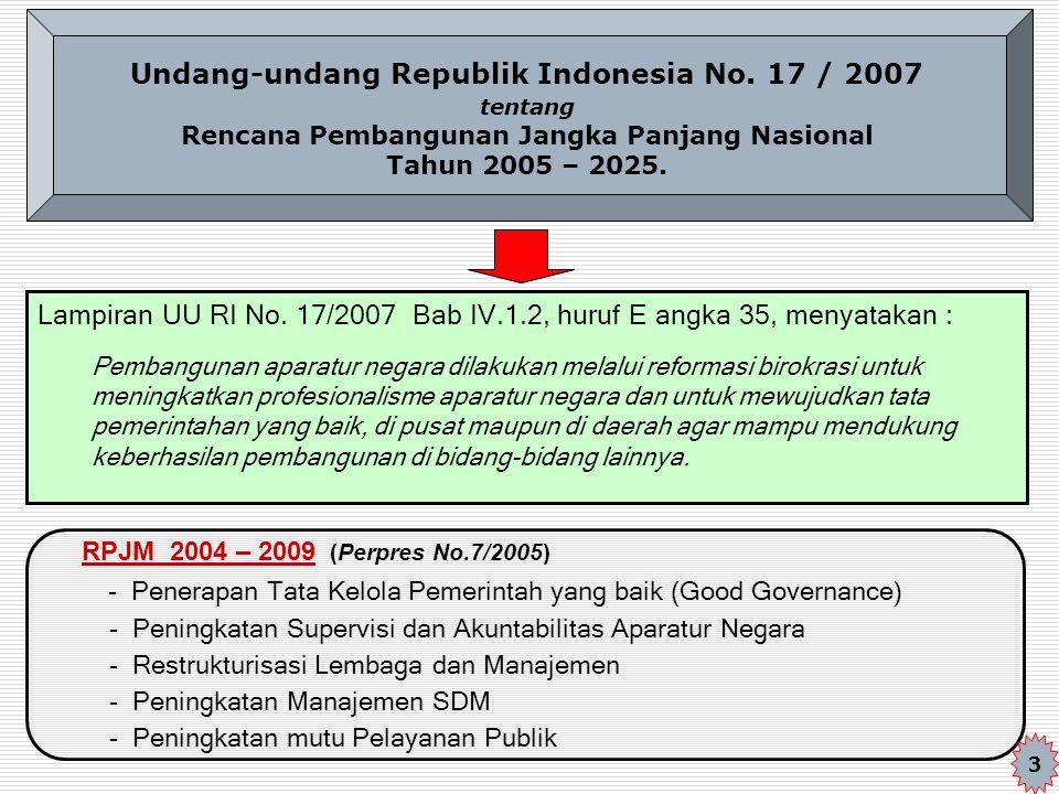 Undang-undang Republik Indonesia No. 17 / 2007 tentang Rencana Pembangunan Jangka Panjang Nasional Tahun 2005 – 2025. Lampiran UU RI No. 17/2007 Bab I