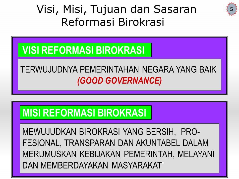 SASARAN REFORMASI BIROKRASI ADALAH MEMBENTUK : 1.Birokrasi yang bersih (Bebas dari praktek KKN, melalui pembenahan sistem pengelolaan anggaran, perbaikan kesejahteraan pegawai, peningkatan pengawasan, penegakan aturan-aturan hukum) 2.Birokarasi yang efisien, (dilakukan melalui program penghematan bagi pembiayaan operasional birokrasi) 3.Birokrasi yang transparan (pembukaan ruang publik dan publik dapat mengakses secara luas penyelenggaraan urusan pemerintahan dan pelayanan umum 4.Birokrasi yang melayani (pengubahan Birokrasi yang promodialisme atau minta dilayani menjadi birokrasi yang melayani masyarakat) 5.Birokrasi yang terdesentralisasi (pendelegasian kewenangan pengambilan keputusan kepada aparatur terdepan) 6
