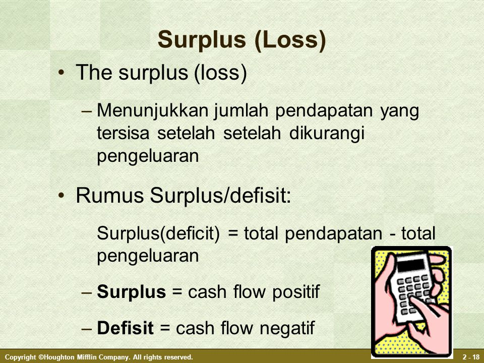 Copyright ©Houghton Mifflin Company. All rights reserved.2 - 18 Surplus (Loss) The surplus (loss) –Menunjukkan jumlah pendapatan yang tersisa setelah