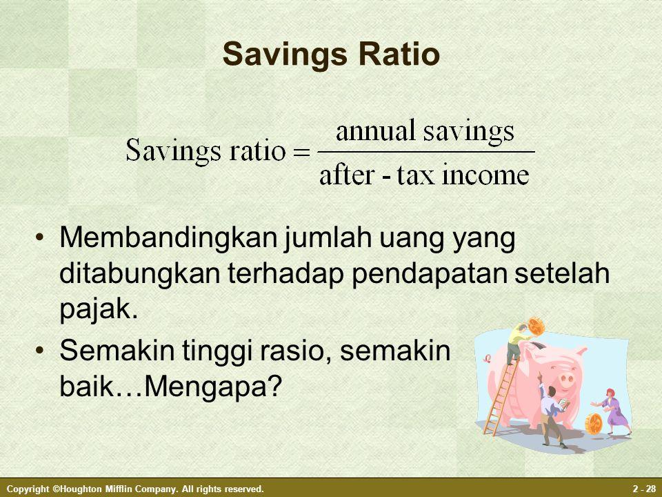 Copyright ©Houghton Mifflin Company. All rights reserved.2 - 28 Savings Ratio Membandingkan jumlah uang yang ditabungkan terhadap pendapatan setelah p