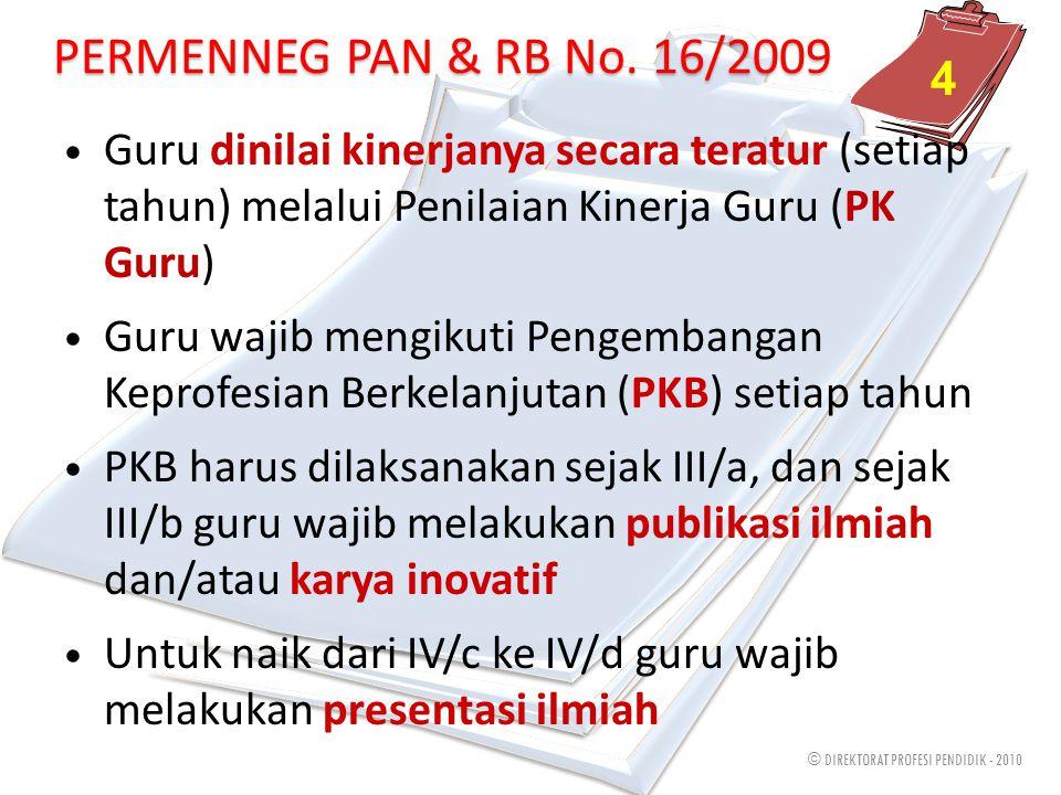 © DIREKTORAT PROFESI PENDIDIK - 2010 PERMENNEG PAN & RB No. 16/2009 4 Guru dinilai kinerjanya secara teratur (setiap tahun) melalui Penilaian Kinerja