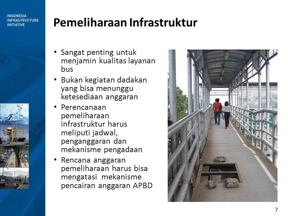 7 Pemeliharaan Infrastruktur Sangat penting untuk menjamin kualitas layanan bus Bukan kegiatan dadakan yang bisa menunggu ketesediaan anggaran Perenca
