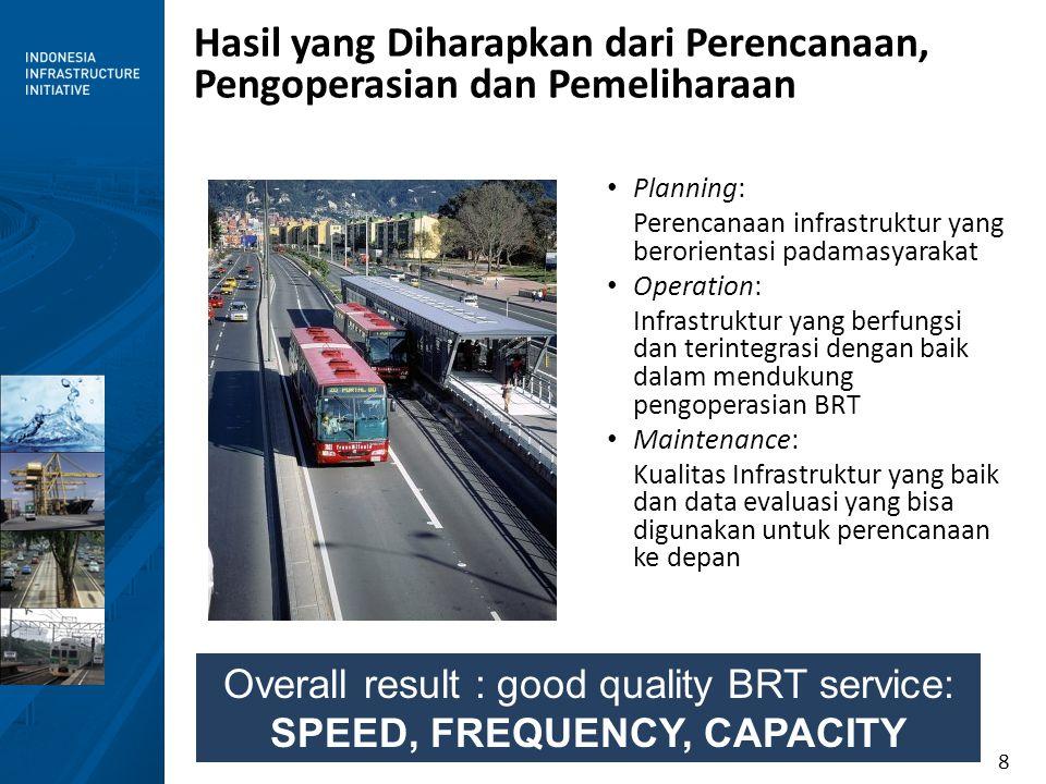 8 Hasil yang Diharapkan dari Perencanaan, Pengoperasian dan Pemeliharaan Planning: Perencanaan infrastruktur yang berorientasi padamasyarakat Operatio
