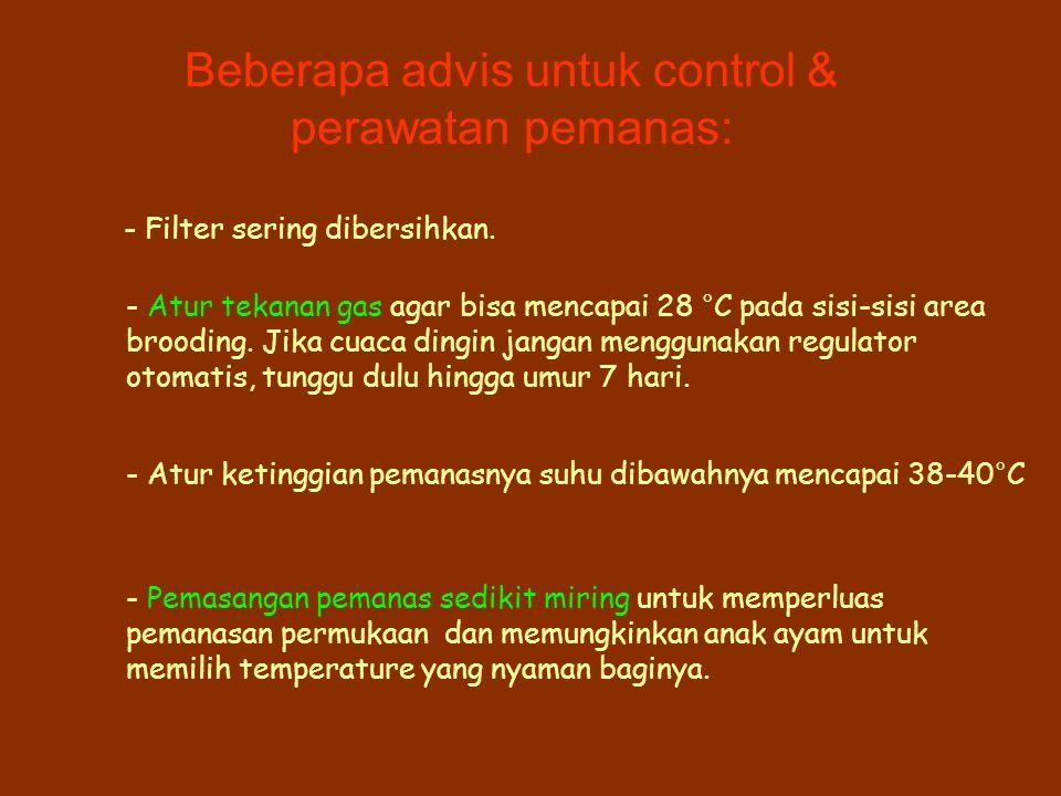Beberapa advis untuk control & perawatan pemanas: - Filter sering dibersihkan.