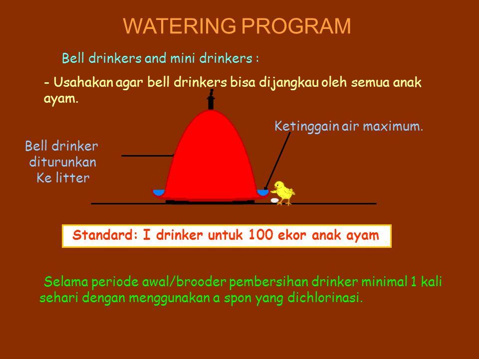 WATERING PROGRAM Bell drinkers and mini drinkers : - Usahakan agar bell drinkers bisa dijangkau oleh semua anak ayam. Standard: I drinker untuk 100 ek