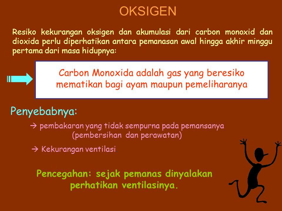 OKSIGEN Resiko kekurangan oksigen dan akumulasi dari carbon monoxid dan dioxida perlu diperhatikan antara pemanasan awal hingga akhir minggu pertama d