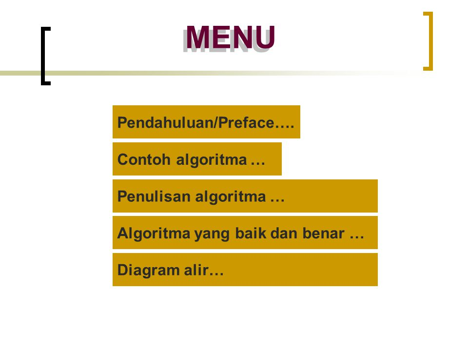 MENU Pendahuluan/Preface…. Contoh algoritma … Algoritma yang baik dan benar … Penulisan algoritma … Diagram alir…