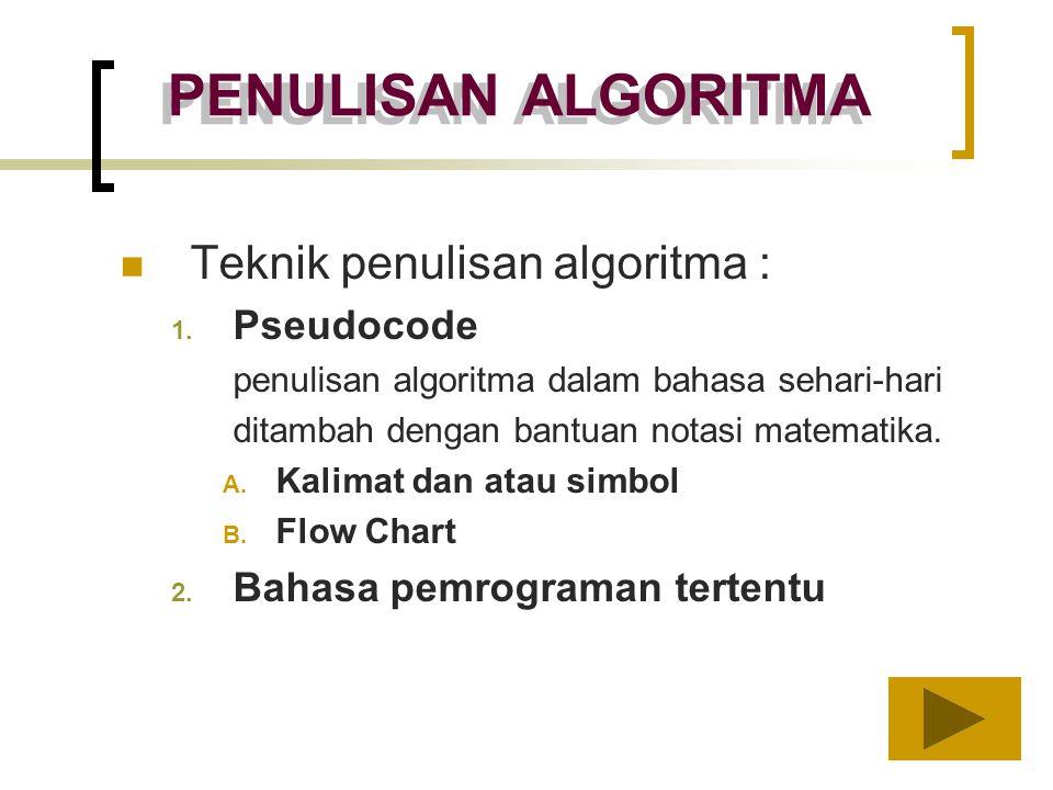 PENULISAN ALGORITMA Teknik penulisan algoritma : 1. Pseudocode penulisan algoritma dalam bahasa sehari-hari ditambah dengan bantuan notasi matematika.