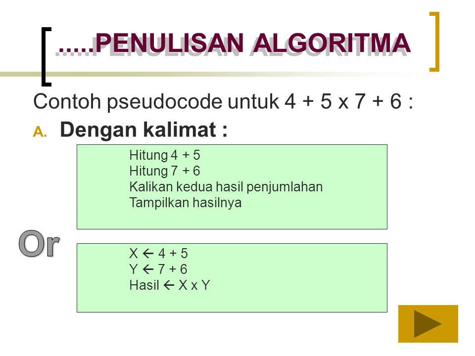 Contoh pseudocode untuk 4 + 5 x 7 + 6 : A. Dengan kalimat : Hitung 4 + 5 Hitung 7 + 6 Kalikan kedua hasil penjumlahan Tampilkan hasilnya.....PENULISAN