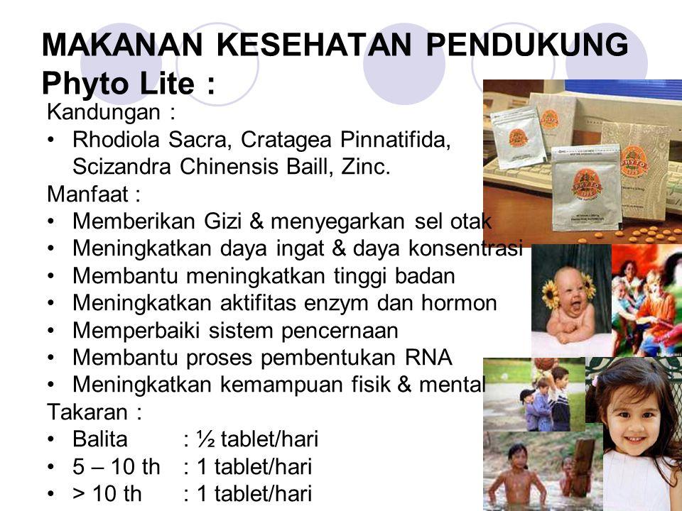 MAKANAN KESEHATAN PENDUKUNG Phyto Lite : Kandungan : Rhodiola Sacra, Cratagea Pinnatifida, Scizandra Chinensis Baill, Zinc.