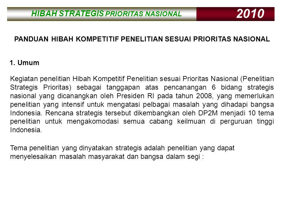 HIBAH STRATEGIS PRIORITAS NASIONAL 2010 HIBAH STRATEGIS PRIORITAS NASIONAL 2010 PANDUAN HIBAH KOMPETITIF PENELITIAN SESUAI PRIORITAS NASIONAL Kegiatan