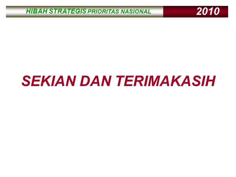 HIBAH STRATEGIS PRIORITAS NASIONAL 2010 HIBAH STRATEGIS PRIORITAS NASIONAL 2010 SEKIAN DAN TERIMAKASIH