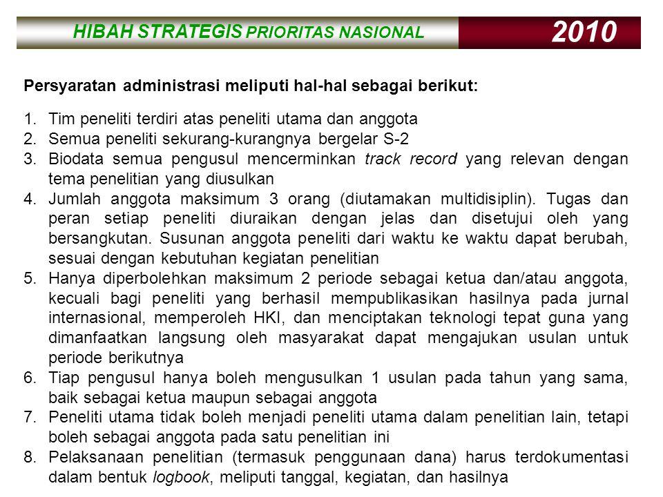 HIBAH STRATEGIS PRIORITAS NASIONAL 2010 HIBAH STRATEGIS PRIORITAS NASIONAL 2010 Persyaratan administrasi meliputi hal-hal sebagai berikut: 1.Tim penel