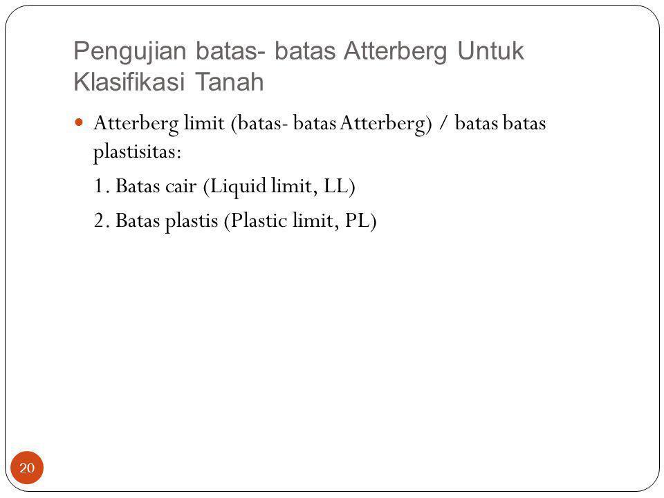 Pengujian batas- batas Atterberg Untuk Klasifikasi Tanah Atterberg limit (batas- batas Atterberg) / batas batas plastisitas: 1. Batas cair (Liquid lim
