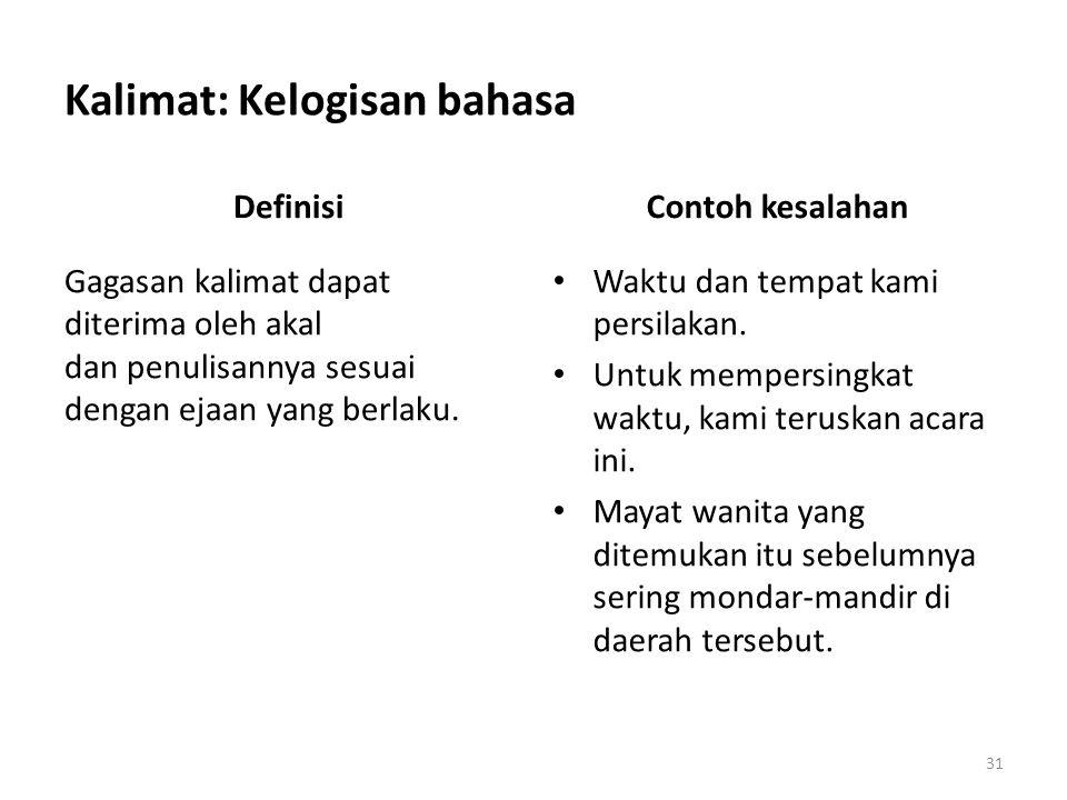 Kalimat: Beberapa kesalahan umum lain Tanda koma di antara subjek dan predikat – Kesediaan negara itu untuk membeli gas alam cair (LNG) Indonesia sebesar dua juta ton setiap tahun, tentu merupakan suatu penambahan baru yang tidak sedikit artinya dalam penerimaan devisa negara.