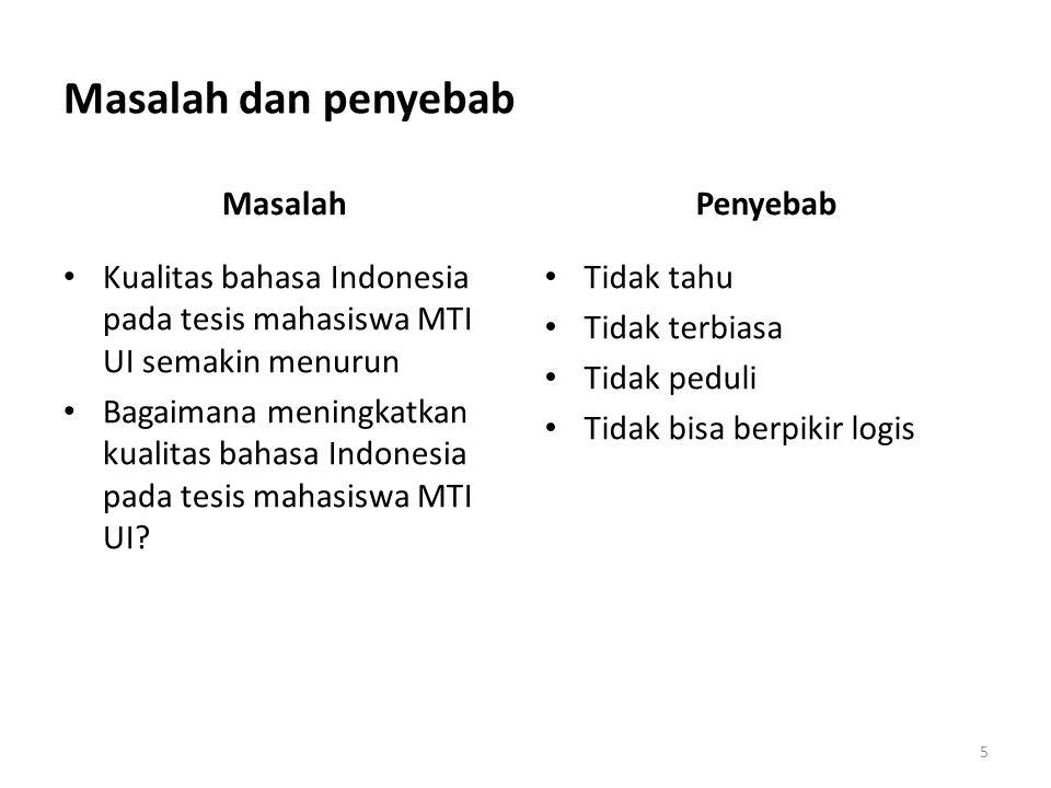 Masalah dan penyebab Masalah Kualitas bahasa Indonesia pada tesis mahasiswa MTI UI semakin menurun Bagaimana meningkatkan kualitas bahasa Indonesia pa