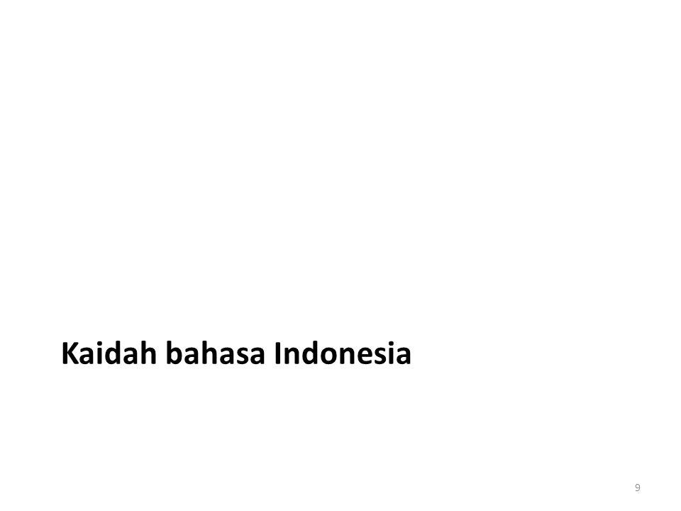 Ejaan Huruf kapital Huruf miring Penulisan kata Singkatan Bilangan Tanda baca Kata Pembentukan kata Penerjemahan istilah Pemilihan kata (diksi) Kalimat Kesepadanan Kesejajaran Kehematan Kecermatan Kepaduan Kelogisan Paragraf & wacana Gagasan utama Perincian Koherensi Kohesi 10