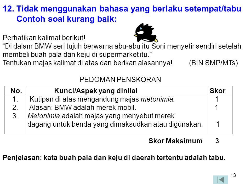 12 10. Butir soal menggunakan bahasa Indonesia yang baku Contoh soal kurang baik Coba kamu sebutkan satu per satu karakteristik sikap patriotik dalam