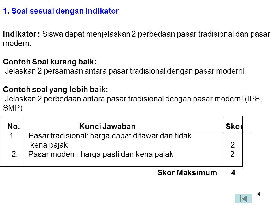 3 KAIDAH PENULISAN SOAL URAIAN 1.Soal sesuai dengan indikatorSoal sesuai dengan indikator 2.Batasan pertanyaan dan jawaban yang diharapkan sudah sesua