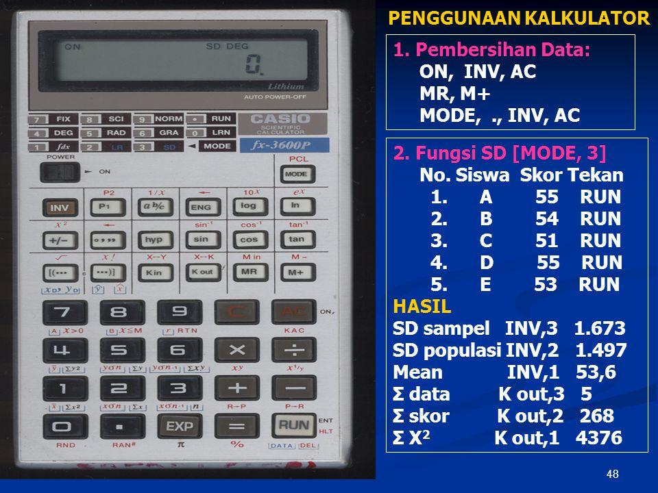 47 SPEC KALKULATOR  Kalkulator Scientifc  Disarankan minimal scientific fx 3600