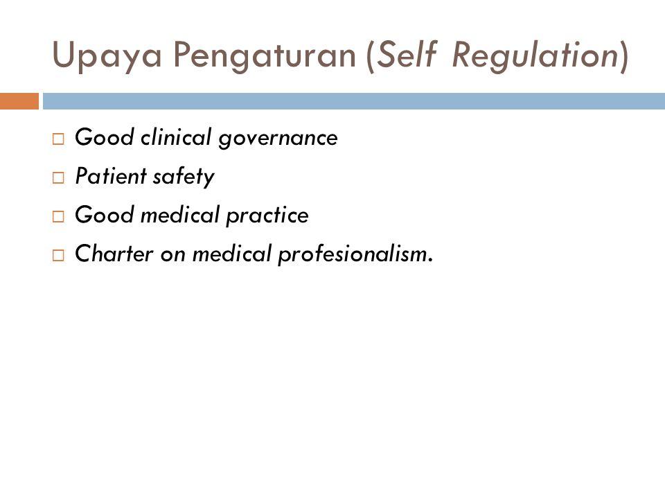 Upaya Pengaturan (Self Regulation)  Good clinical governance  Patient safety  Good medical practice  Charter on medical profesionalism.