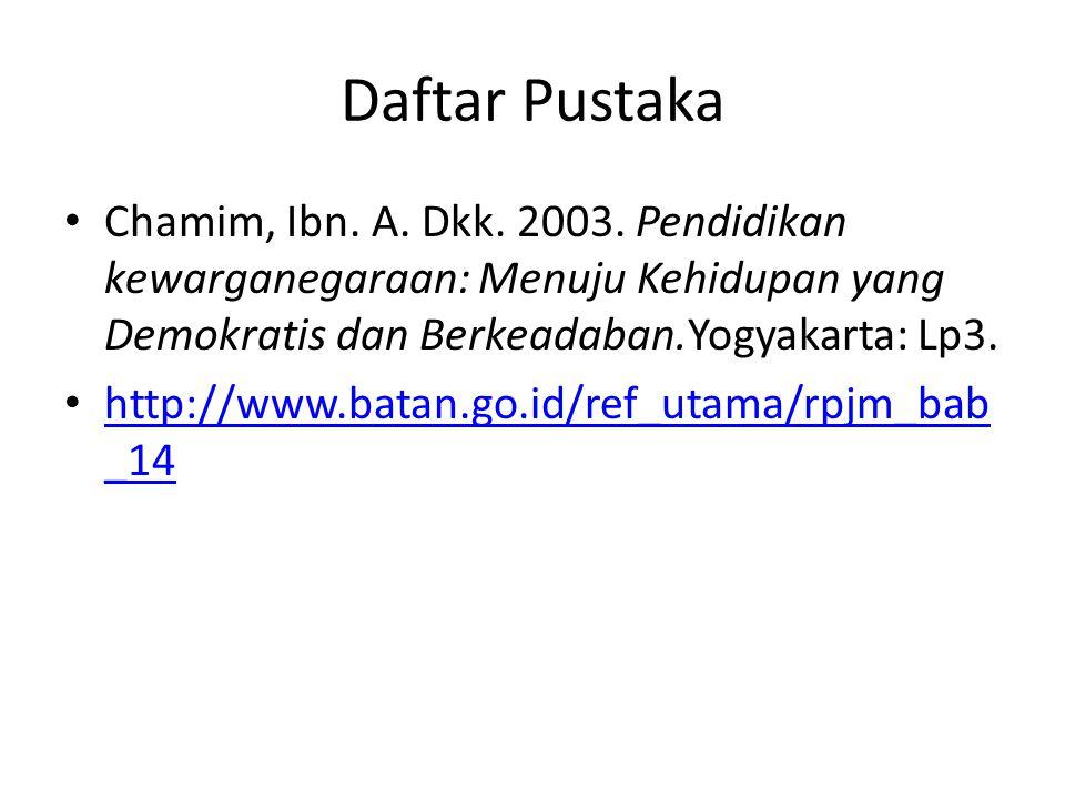 Daftar Pustaka Chamim, Ibn. A. Dkk. 2003. Pendidikan kewarganegaraan: Menuju Kehidupan yang Demokratis dan Berkeadaban.Yogyakarta: Lp3. http://www.bat
