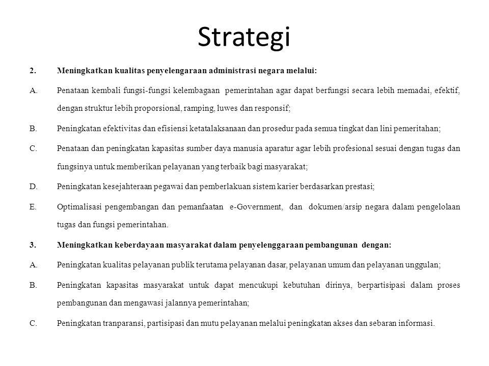 Strategi 2.Meningkatkan kualitas penyelengaraan administrasi negara melalui: A.Penataan kembali fungsi-fungsi kelembagaan pemerintahan agar dapat berf