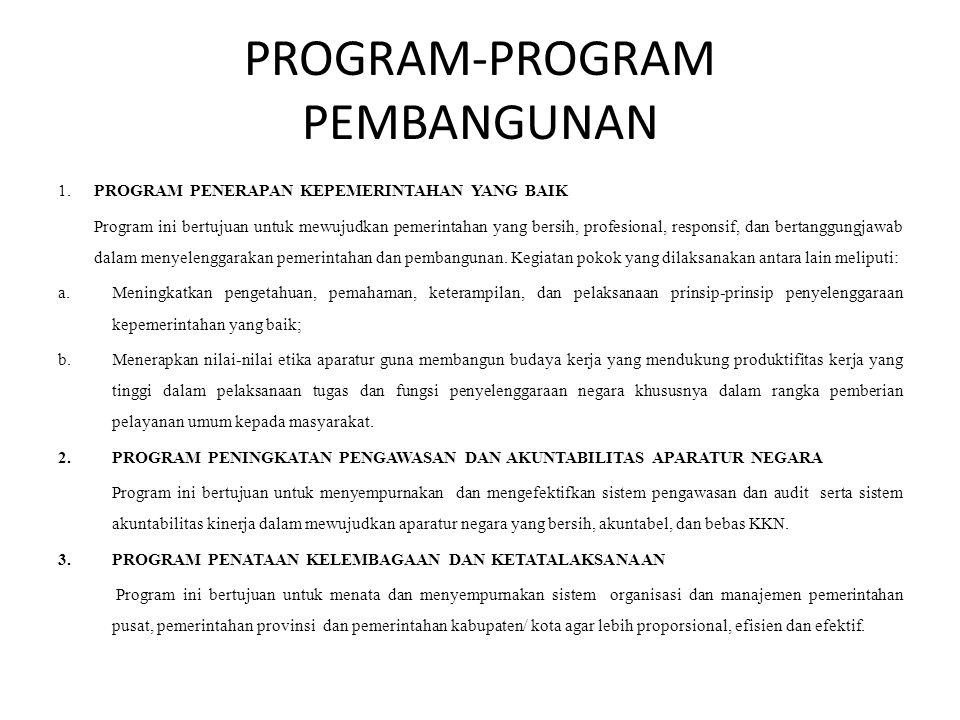 PROGRAM-PROGRAM PEMBANGUNAN 1. PROGRAM PENERAPAN KEPEMERINTAHAN YANG BAIK Program ini bertujuan untuk mewujudkan pemerintahan yang bersih, profesional