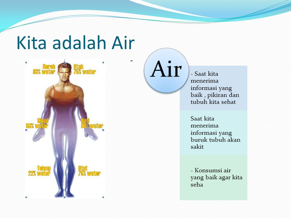 Kita adalah Air - - Saat kita menerima informasi yang baik, pikiran dan tubuh kita sehat Saat kita menerima informasi yang buruk tubuh akan sakit - Ko