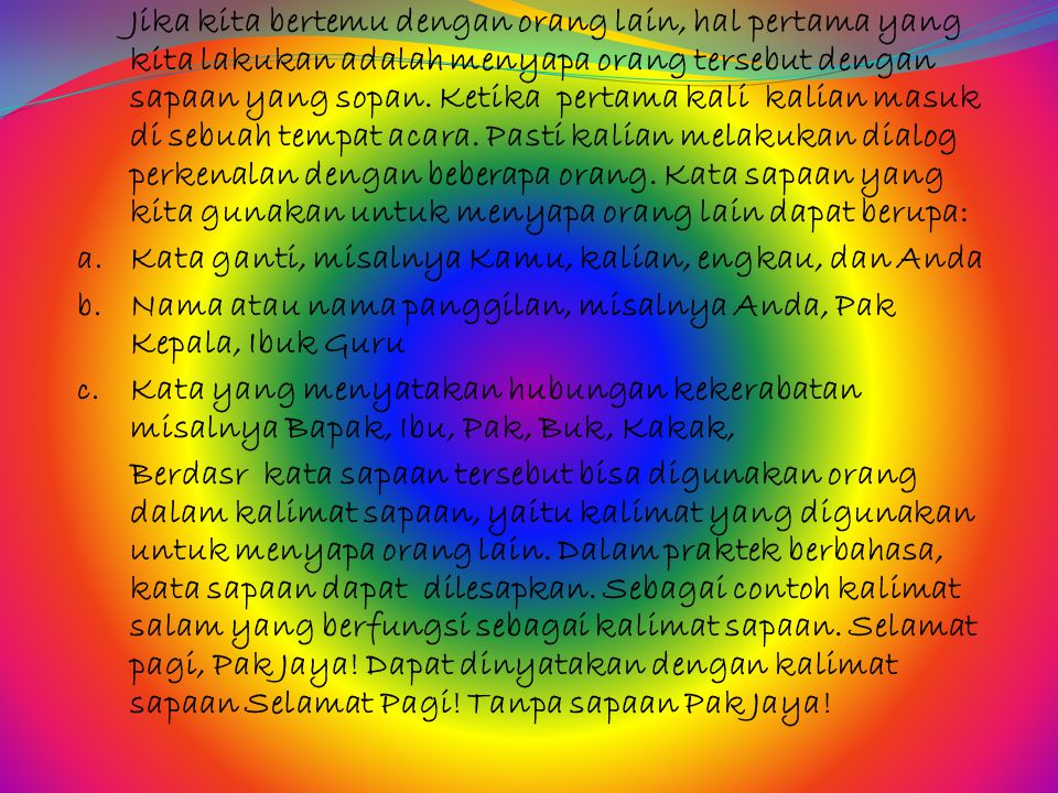 Assalamu'alaikum warahmatullahi wabarakatuh, Hadirin yang saya hormati, marilah kita panjatkan puji dan syukur ke hadirat Tuhan Yang Maha Esa.