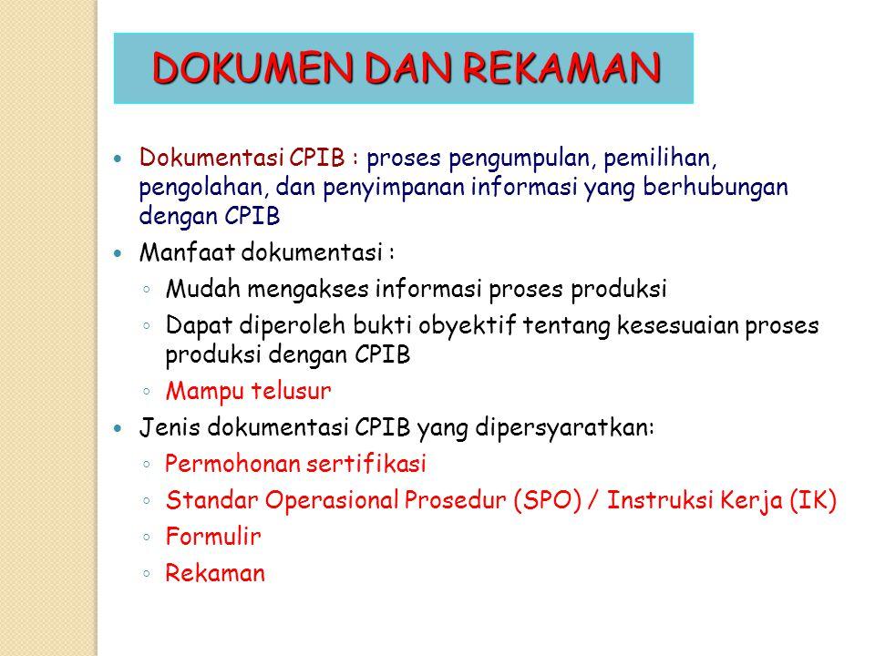DOKUMEN DAN REKAMAN Dokumentasi CPIB : proses pengumpulan, pemilihan, pengolahan, dan penyimpanan informasi yang berhubungan dengan CPIB Manfaat dokum