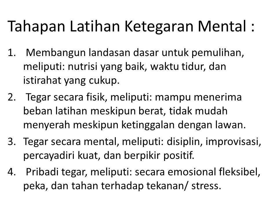 Metode Melatih Ketegaran Mental Atlet Metode adalah cara, maka metode maelatih ketegaran mental adalah suatu cara yang dilakukan untuk mencapai kondisi mental yang kuat meskipun atlet dalam keadaan tertekan oleh lawan.