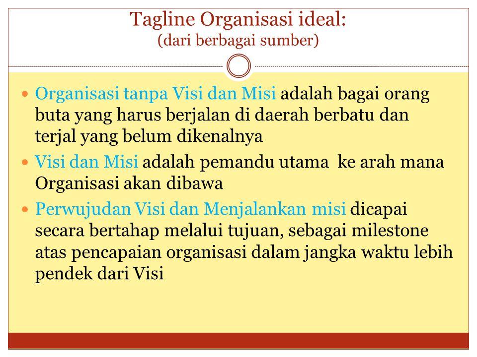 Tagline Organisasi ideal: (dari berbagai sumber) Organisasi tanpa Visi dan Misi adalah bagai orang buta yang harus berjalan di daerah berbatu dan terj